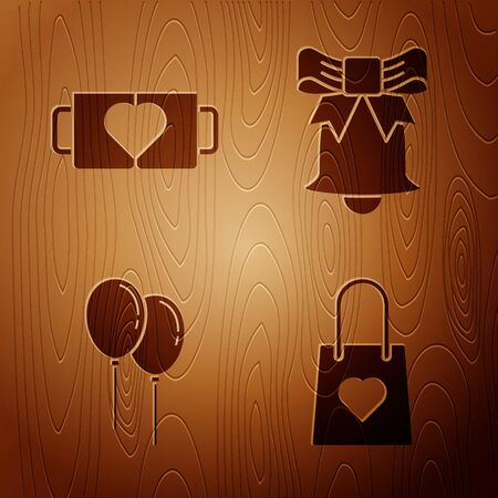 Set Shopping bag with heart, Two coffee cup and heart, Balloons with ribbon and Ringing bell on wooden background. Vector