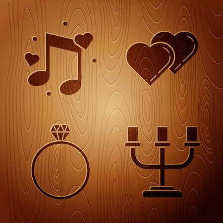 Set Candlestick, Music note, tone with hearts, Diamond engagement ring and Two Linked Hearts on wooden background. Vector Imagens - 137762265