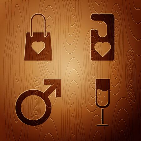 Set Glass of champagne, Shopping bag with heart, Male gender symbol and Please do not disturb with heart on wooden background. Vector 向量圖像