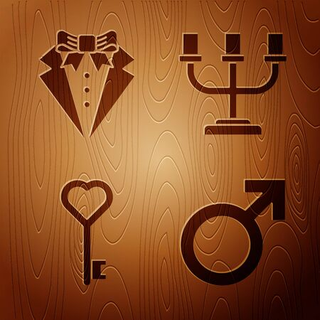 Set Male gender symbol, Suit, Key in heart shape and Candlestick on wooden background. Vector