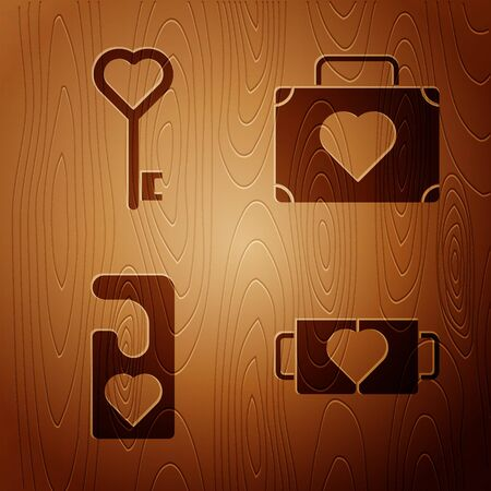 Set Two coffee cup and heart, Key in heart shape, Please do not disturb with heart and Suitcase for travel with heart on wooden background. Vector