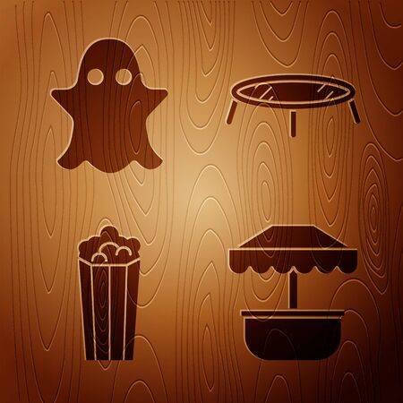 Set Attraction carousel, Ghost, Popcorn in cardboard box and Jumping trampoline on wooden background. Vector