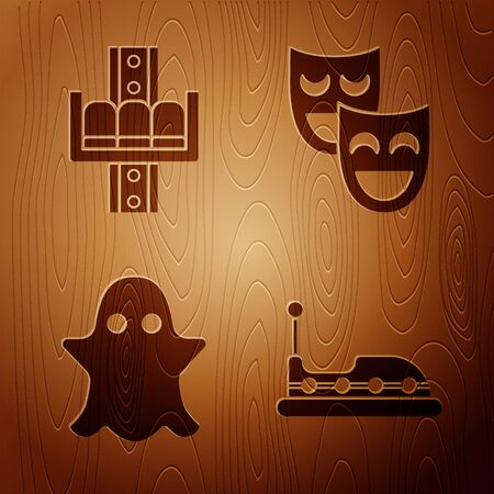 Set Bumper car, Attraction carousel, Ghost and Comedy theatrical masks on wooden background. Vector Illustration