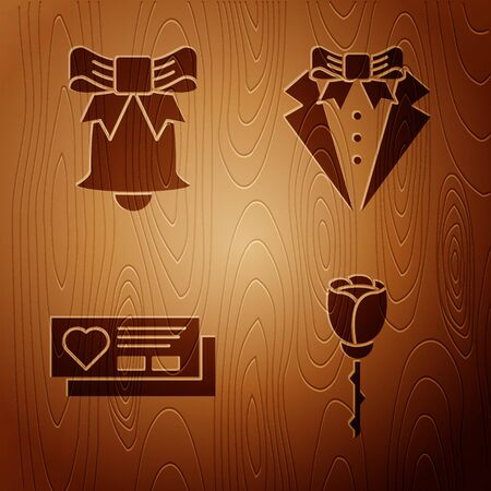 Set Flower rose, Ringing bell, Ticket with heart and Suit on wooden background. Vector  イラスト・ベクター素材