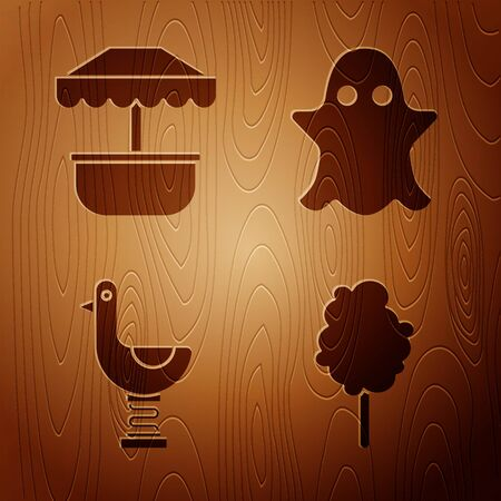 Set Cotton candy, Attraction carousel, Riding kid duck and Ghost on wooden background. Vector