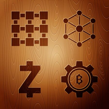 Set Cryptocurrency coin Bitcoin, Blockchain technology, Cryptocurrency coin Zcash ZEC and Blockchain technology on wooden background. Vector