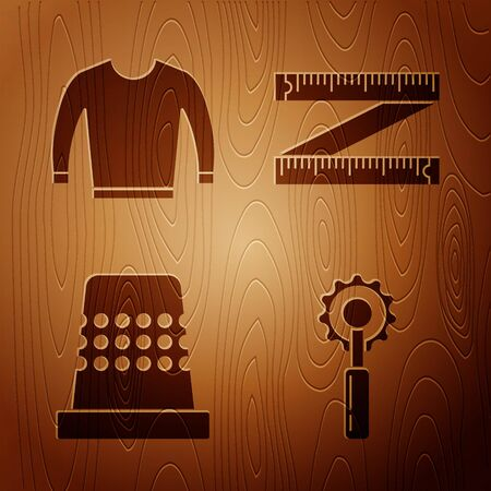 Set Cutter tool, Sweater, Thimble for sewing and Tape measure on wooden background. Vector Archivio Fotografico - 137768445