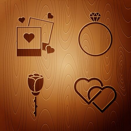 Set Two Linked Hearts, Two blanks photo frames and hearts, Flower rose and Diamond engagement ring on wooden background. Vector