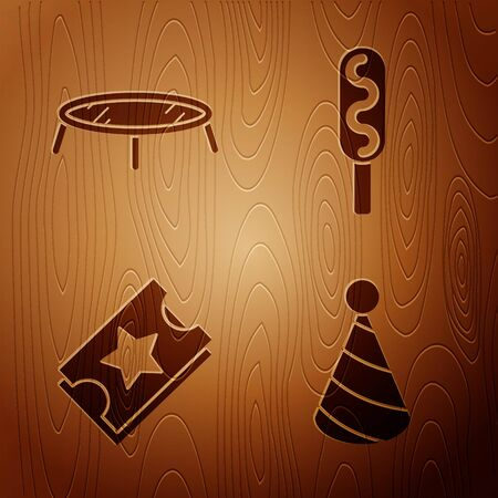 Set Party hat, Jumping trampoline, Ticket and Corn dog on wooden background. Vector