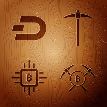 Set Crossed pickaxe, Cryptocurrency coin Dash, CPU mining farm and Pickaxe on wooden background. Vector Ilustrace