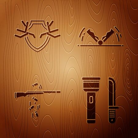 Set Flashlight and knife, Deer antlers on shield, Gun shooting and Trap hunting on wooden background. Vector