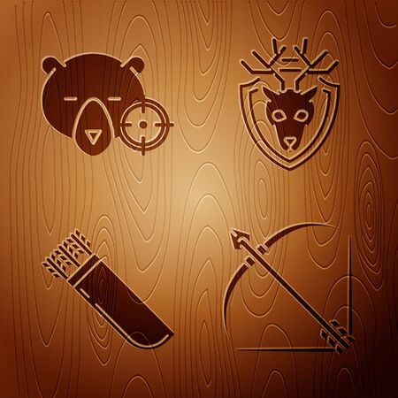 Set Bow and arrow in quiver, Hunt on bear with crosshairs, Quiver with arrows and Deer head with antlers on shield on wooden background. Vector