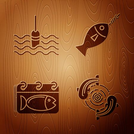 Set Fish, Fishing float in water, Calendar with a fish and Fish on hook on wooden background. Vector