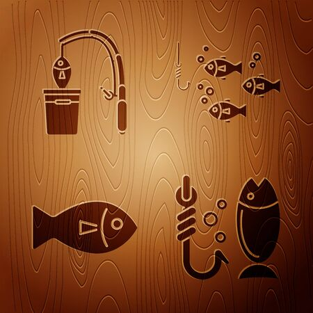 Set Fishing, Fishing rod and fish, Fish and Fishing hook under water with fish on wooden background. Vector
