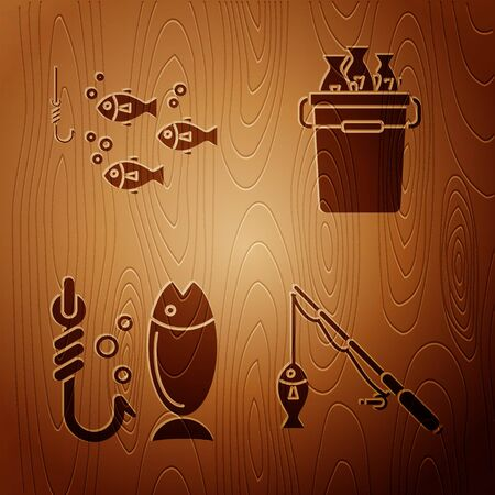 Set Fishing rod and fish, Fishing hook under water with fish, Fishing and Fishing bucket with fishes on wooden background. Vector