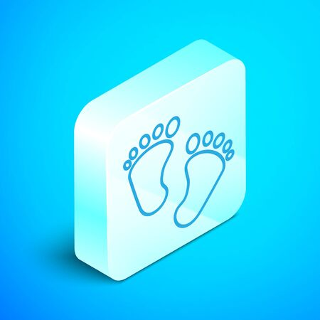 Isometric line Baby footprints icon isolated on blue background. Baby feet sign. Silver square button. Vector Illustration 向量圖像