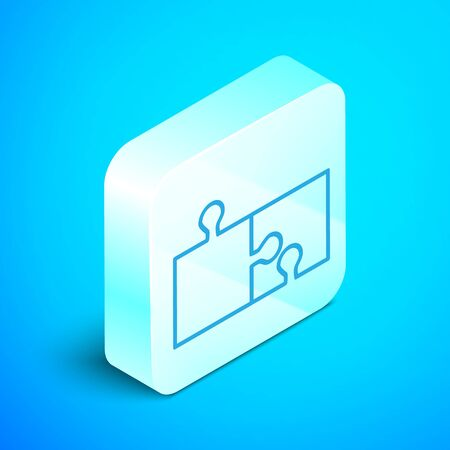 Isometric line Piece of puzzle icon isolated on blue background. Modern flat, business, marketing, finance, internet concept. Silver square button. Vector Illustration