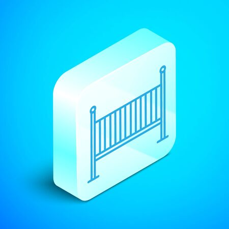 Isometric line Baby crib cradle bed icon isolated on blue background. Silver square button. Vector Illustration Illustration