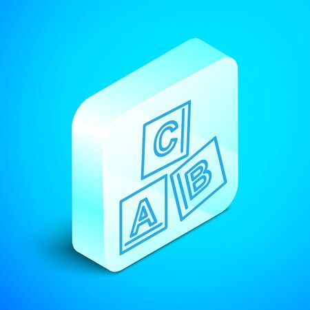 Isometric line ABC blocks icon isolated on blue background. Alphabet cubes with letters A,B,C. Silver square button. Vector Illustration