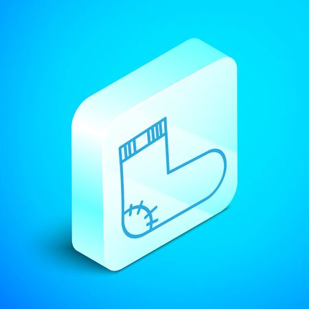 Isometric line Baby socks clothes icon isolated on blue background. Silver square button. Vector Illustration