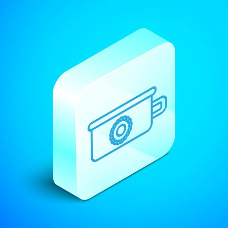 Isometric line Baby potty icon isolated on blue background. Chamber pot. Silver square button. Vector Illustration