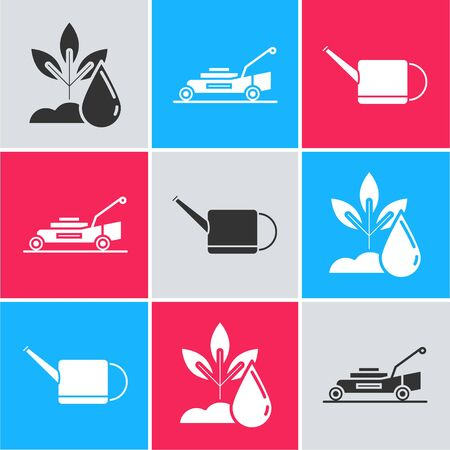 Set Watering plant, Lawn mower and Watering can icon. Vector Stock Illustratie