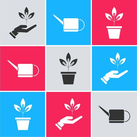 Set Plant in hand of environmental protection, Watering can and Flowers in pot icon. Vector Illusztráció