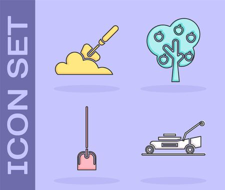 Set Lawn mower, Garden trowel spade or shovel in the ground, Shovel and Tree with apple icon. Vector