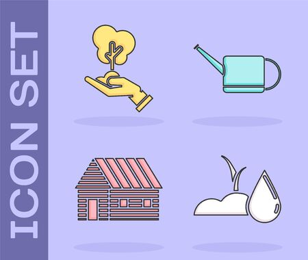 Set Watering sprout, Tree in hand of environmental protection, Farm house and Watering can icon. Vector