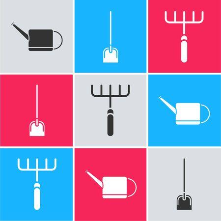 Set Watering can, Shovel and Garden rake icon. Vector