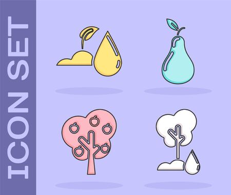 Set Watering Tree, Watering sprout, Tree with apple and Pear icon. Vector