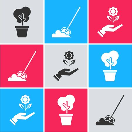 Set Tree in pot, Shovel in the ground and Hand holding flower icon. Vector