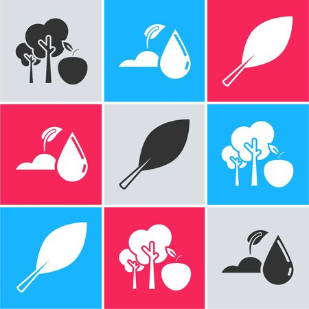 Set Tree with apple, Watering sprout and Leaf icon. Vector Ilustração