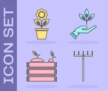 Set Garden rake, Flower in pot, Wooden box for fruits and vegetables and Plant in hand of environmental protection icon. Vector