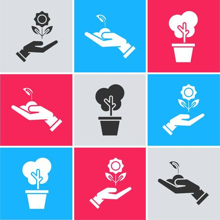 Set Hand holding flower, Sprout in hand of environmental protection and Tree in pot icon. Vector Illusztráció