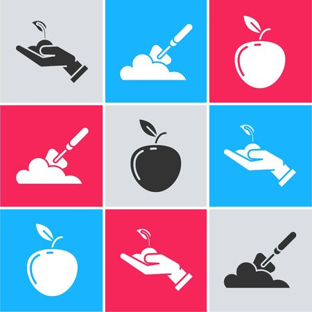 Set Sprout in hand of environmental protection, Garden trowel spade or shovel in the ground and Apple icon. Vector
