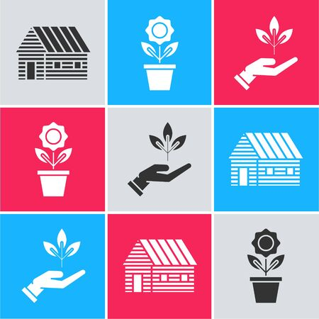 Set Farm house, Flower in pot and Plant in hand of environmental protection icon. Vector