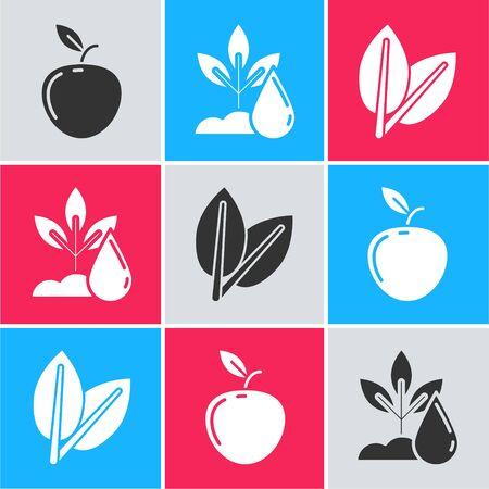 Set Apple, Watering plant and Leafs icon. Vector Ilustração