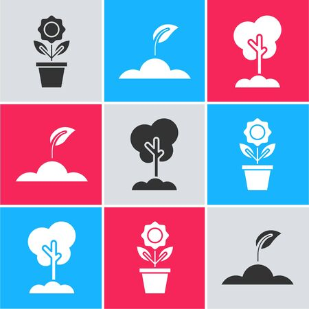 Set Flower in pot, Sprout and Tree in the ground icon. Vector