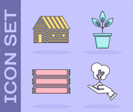 Set Tree in hand of environmental protection, Farm house, Wooden box and Flowers in pot icon. Vector