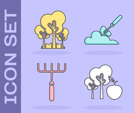 Set Tree with apple, Trees, Garden rake and Garden trowel spade or shovel in the ground icon. Vector