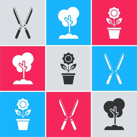 Set Gardening handmade scissors for trimming, Tree in the ground and Flower in pot icon. Vector Illusztráció