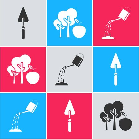 Set Garden trowel spade or shovel, Tree with apple and Watering can with water icon. Vector Ilustração