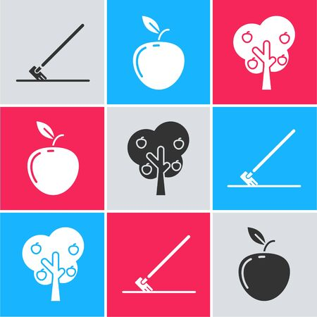 Set Garden rake in work, Apple and Tree with apple icon. Vector