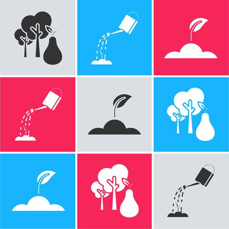 Set Tree with pears, Watering can with water and Sprout icon. Vector