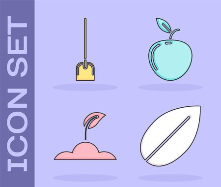 Set Leaf, Shovel, Sprout and Apple icon. Vector
