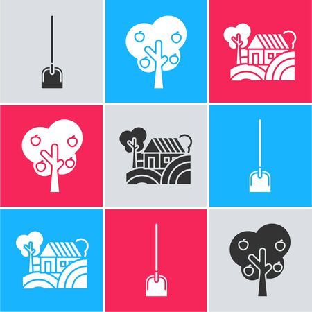 Set Shovel, Tree with apple and Farm House concept icon. Vector