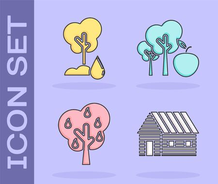 Set Farm house, Watering Tree, Tree with pears and Tree with apple icon. Vector