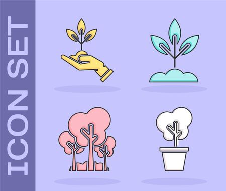 Set Tree in pot, Plant in hand of environmental protection, Trees and Plant icon. Vector Illusztráció