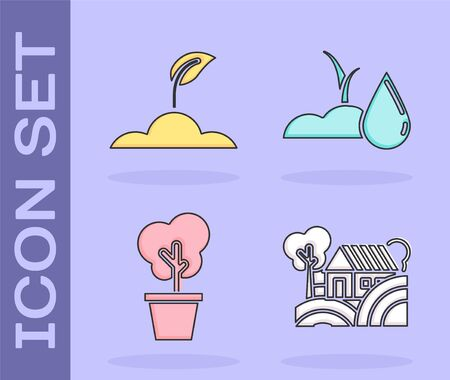 Set Farm House concept, Sprout, Tree in pot and Watering sprout icon. Vector Illusztráció